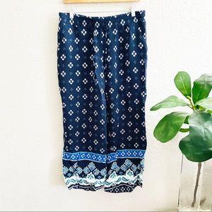 LOFT Floral Navy Blue Pants Size Medium
